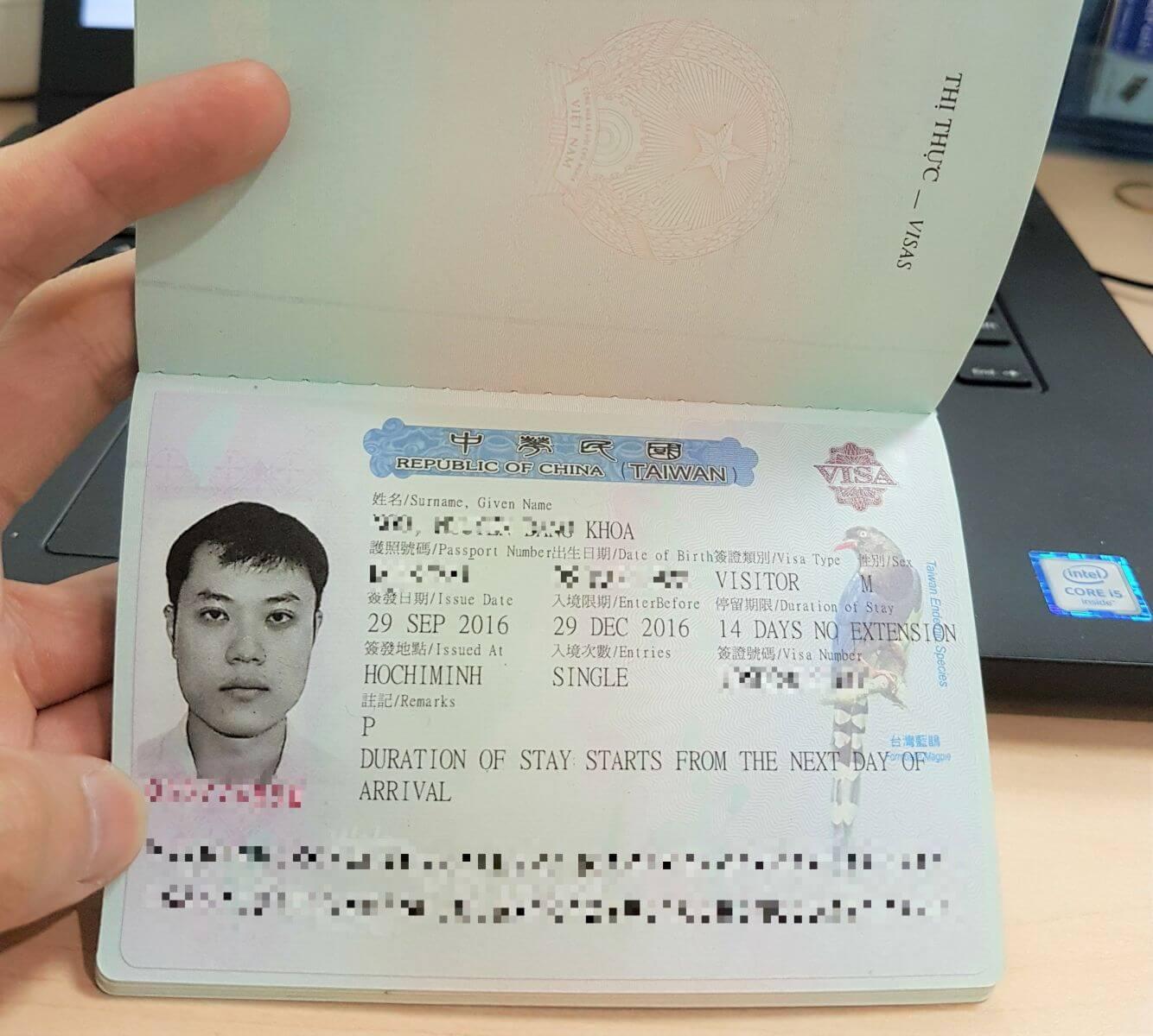 Quy trình xin visa Đài Loan